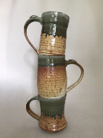 Jim Sheffler handmade pottery stacked mugs